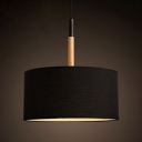 Drum Hanging Light Simplicity Fabric 1 Head Drop Ceiling Lighting in Black for Living Room