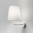 White Coolie Wall Mount Light Simplicity Fabric Single Head Sconce Lighting for Coffee Shop