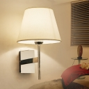 Tapered Wall Lamp with White Fabric Shade Minimalist 1 Light Wall Light for Sitting Room