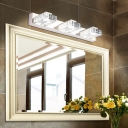 Stainless Square Makeup Mirror Light Modernism 2/3 Heads Cosmetic Lamp for Bathroom