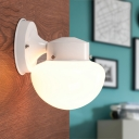 Opal Glass Bowl Wall Mount Fixture Modern Simple Single Light Wall Sconce in White for Bedside
