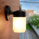 Frosted Glass Cylinder Sconce Light Modern Stylish Single Head Wall Light in Black for Balcony