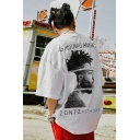 Guys Cool Street Style Letter Brick Figure Print Round Neck Oversized Cotton Graphic T-Shirt