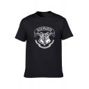 Trendy Letter HOGWARTS Harry University Logo Print Crewneck Short Sleeve Cotton T-Shirt for Guys