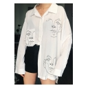 Cartoon Abstract Figure Printed Lapel Collar Long Sleeve Boyfriend Loose Button Shirt