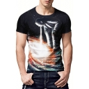Fashion 3D Galaxy Whirlpool Figure Printed Round Neck Men's Black Fitted T-Shirt