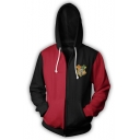 Trendy Harry Potter University Logo Print Colorblock Long Sleeve Zip Up Red Hoodie