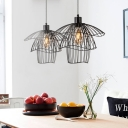 Black Twiggy Grid Suspension Light Modernism Metal 1 Head Hanging Lamp with Metal Cage