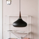 Spinning Suspended Light Simplicity Wooden 1 Bulb Drop Ceiling Lighting in Black