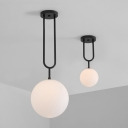 Orb Semi Flush Light Designers Style Frosted Glass 1 Light Lighting Fixture in Black Finish