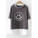 Cartoon Smile Face Layered Patch Long Sleeve Round Neck Colorblock Loose Fit T-Shirt
