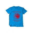 Trendy FIRE&BLOOD Game Of Thrones Targaryen Logo Print Cotton Short Sleeve T-Shirt