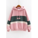 Simple Letter NUM Printed Colorblock Long Sleeve Warm Thick Hoodie for Juniors