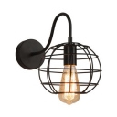 Spherical Wire Guard Lighting Fixture Industrial Metallic 1 Light Sconce Light in Black for Restaurant