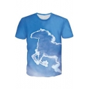 Cool Unique 3D Horse Printed Short Sleeve Blue Casual T-Shirt