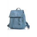 24*13*33cm Fashion Simple Plain PU Nylon Inside School Backpack for Girls
