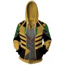 Trendy Cool 3D Comic Colorblock Long Sleeve Zip Up Yellow Drawstring Hoodie