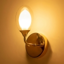 Rose Gold Oval Wall Lighting Minimalist Glass Shade 1 Bulb Small Wall Sconce for Sitting Room