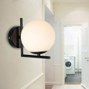 Global Wall Mount Light Simplicity Modern Opal Glass Single Head Wall Light Fixture in Black for Bedroom