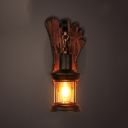 1 Head Caged Small Sconce Light with Footprint Wooden Base Industrial Wall Light Fixture in Rust