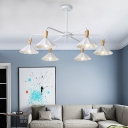 3/6 Lights Scalloped Lighting Fixture Baby Kids Room Metallic Decoration Chandelier Lamp in White