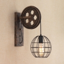 Globe Metal Cage Wall Light with Wheel Decoration Vintage 1 Bulb Wall Mount Light in Black for Bar