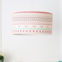 3 Lights Drum Hanging Lamp American Retro Chandelier Lamp with Colorful Fabric Shade
