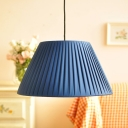 Single Head Tapered Hanging Lamp Rustic Style Drop Light with Beige/Dark Blue/Sky Blue Fabric Shade