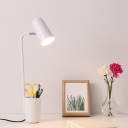 Elongated Dome Desk Light with Storage Cup Study Room Metallic Single Light Desk Lighting in White