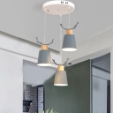 3 Lights Round Canopy Drop Light with Antler Boys Girls Room Metallic Pendant Lamp in Gray/Green