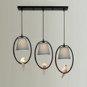 Black Finish Tapered Suspended Light with Bird Fabric Shade Triple Lights Pendant Light for Restaurant