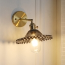 Gray Scalloped Wall Mount Light Industrial Modern Glass Shade 1 Head Sconce Light for Corridor