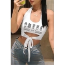 New Stylish White Halter Neck Letter PLANTS ARE FRIENDS Printed Cut-Out Tied Front Crop Tank Top