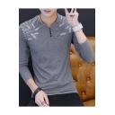 Men's Cotton Long Sleeve Fashion Feather Print Fitted Henley Shirt