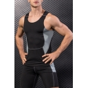 Men's Trendy Patchwork Scoop Neck Training Quick Drying Compression Tight Workout Tank Top