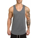 Summer New Trendy Quick-Dry Stretch-Cotton Training Muscle Low Cut Loose Tank Top for Men