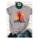 New Stylish Cactus Letter HARD TO HANDLE Printed Grey Loose T-Shirt