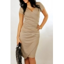 Women's V-Neck Short Sleeve Ruched Detail Plain Midi Pencil Dress