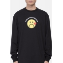 Simple Letter MORE SMILES LESS HATE Sad Face Print Long Sleeve Crewneck Oversized Sweatshirt