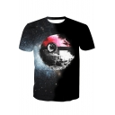 Cool 3D Ball Galaxy Printed Black Regular Fit T-Shirt