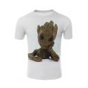 3D Lovely Treant Groot Pattern Basic White Short Sleeve T-Shirt