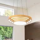 Wood Finish Round Chandelier Modern Style Acrylic Shade Hanging Pendant in White/Warm Light