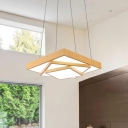 Metal Square Body Drop Light Modern Wood Finish Indoor Pendant for Office Living Room Restaurant
