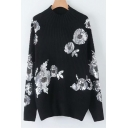 Black Mock Neck Long Sleeve Sequined Floral Embellished Knit Sweater