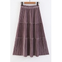 Chic Elastic High Waist Plain Velvet Midi Pleated Skirt