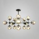 Multi Light Ball Hanging Light Post Modern Stylish Transparent Glass LED Chandelier