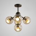 Dark Brown Glass Ball Shape Chandelier Post Modern Simple 5 Light Hanging Light for Bar