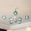 Designers Style Modo Chandelier Faded Blue Glass Multi Light Art Deco Hanging Light