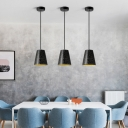 Conical Shade Pendant Lamp Designers Style Eco Friendly Concrete Suspension Light in Black