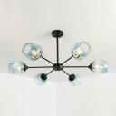 Branching Suspended Light Contemporary Faded Glass 6 Light Decorative Chandelier in Black